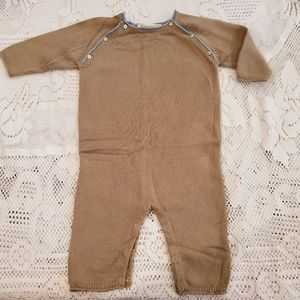 Bonpoint onesie, tan with blue piping